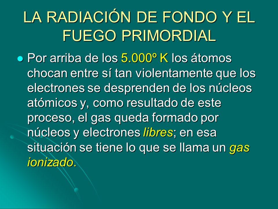 LA RADIACIÓN DE FONDO Y EL FUEGO PRIMORDIAL Por arriba de los 5.000º K los átomos chocan entre sí tan violentamente que los electrones se desprenden d