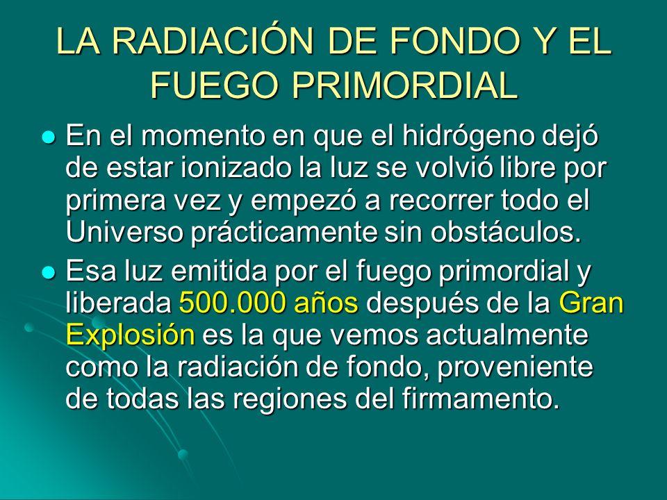 LA RADIACIÓN DE FONDO Y EL FUEGO PRIMORDIAL En el momento en que el hidrógeno dejó de estar ionizado la luz se volvió libre por primera vez y empezó a