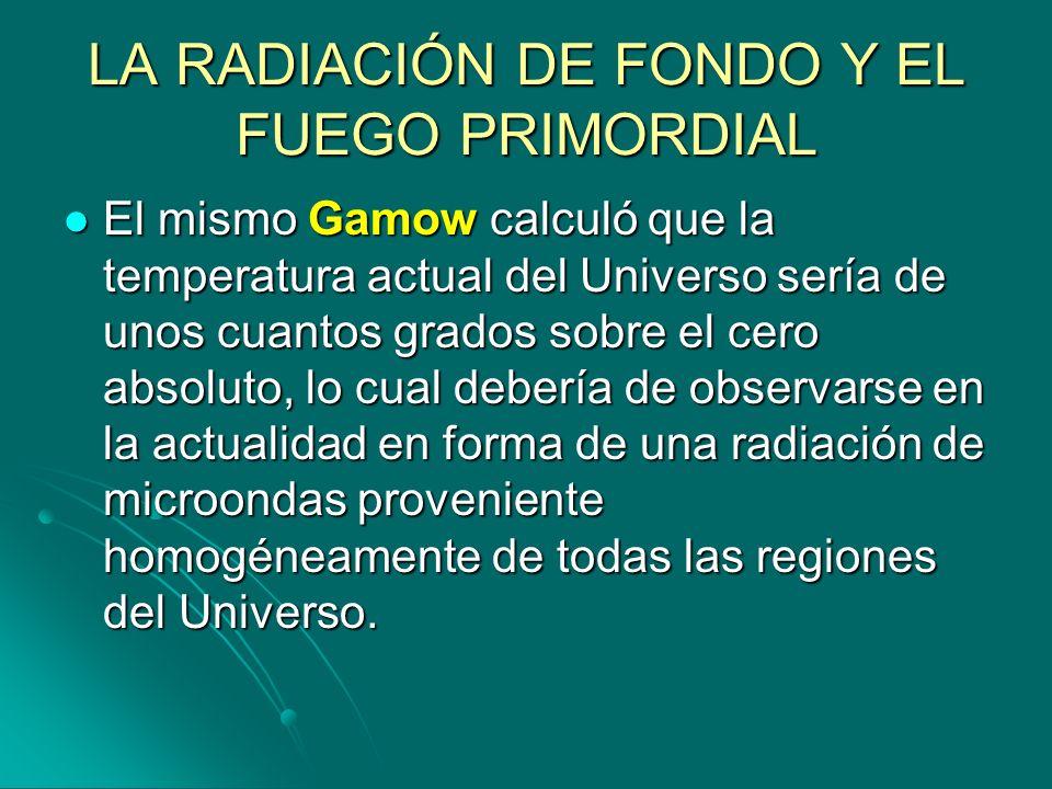LA RADIACIÓN DE FONDO Y EL FUEGO PRIMORDIAL El mismo Gamow calculó que la temperatura actual del Universo sería de unos cuantos grados sobre el cero a