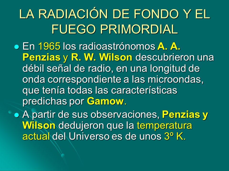 LA RADIACIÓN DE FONDO Y EL FUEGO PRIMORDIAL En 1965 los radioastrónomos A. A. Penzias y R. W. Wilson descubrieron una débil señal de radio, en una lon