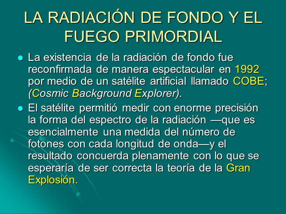 LA RADIACIÓN DE FONDO Y EL FUEGO PRIMORDIAL La existencia de la radiación de fondo fue reconfirmada de manera espectacular en 1992 por medio de un sat