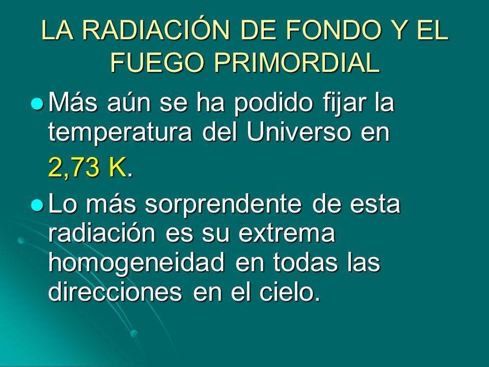 LA RADIACIÓN DE FONDO Y EL FUEGO PRIMORDIAL Más aún se ha podido fijar la temperatura del Universo en Más aún se ha podido fijar la temperatura del Un