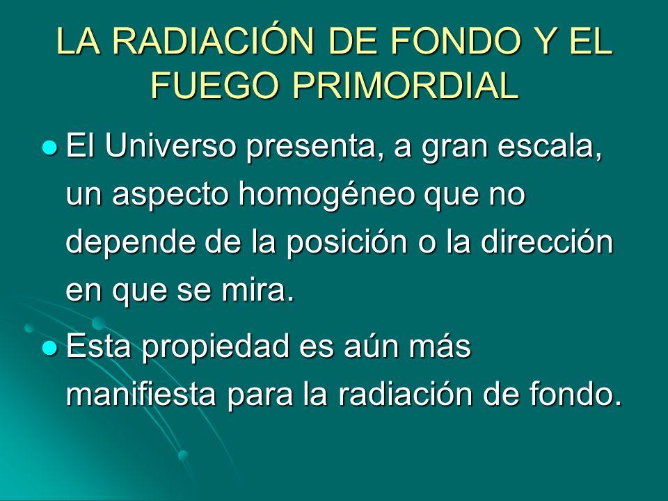 LA RADIACIÓN DE FONDO Y EL FUEGO PRIMORDIAL El Universo presenta, a gran escala, un aspecto homogéneo que no depende de la posición o la dirección en