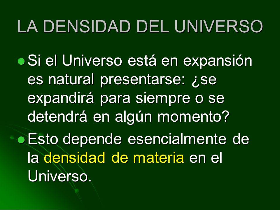 LA DENSIDAD DEL UNIVERSO Si el Universo está en expansión es natural presentarse: ¿se expandirá para siempre o se detendrá en algún momento? Si el Uni