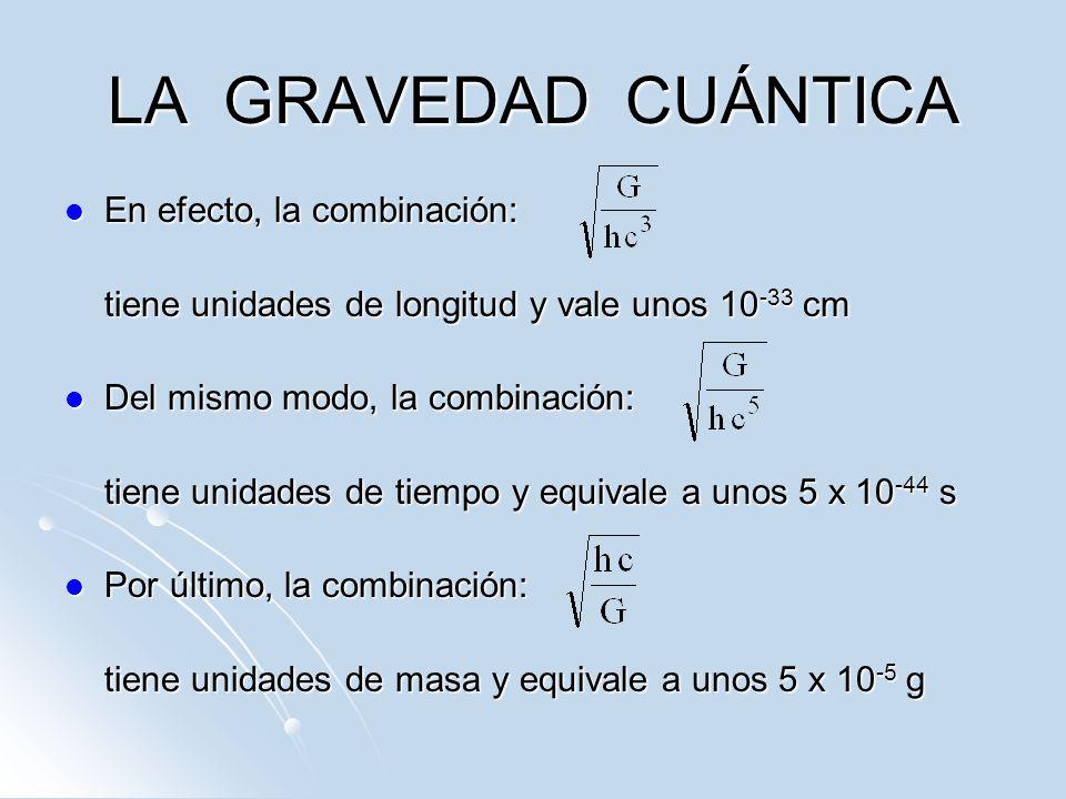 LA GRAVEDAD CUÁNTICA En efecto, la combinación: En efecto, la combinación: tiene unidades de longitud y vale unos 10 -33 cm Del mismo modo, la combina