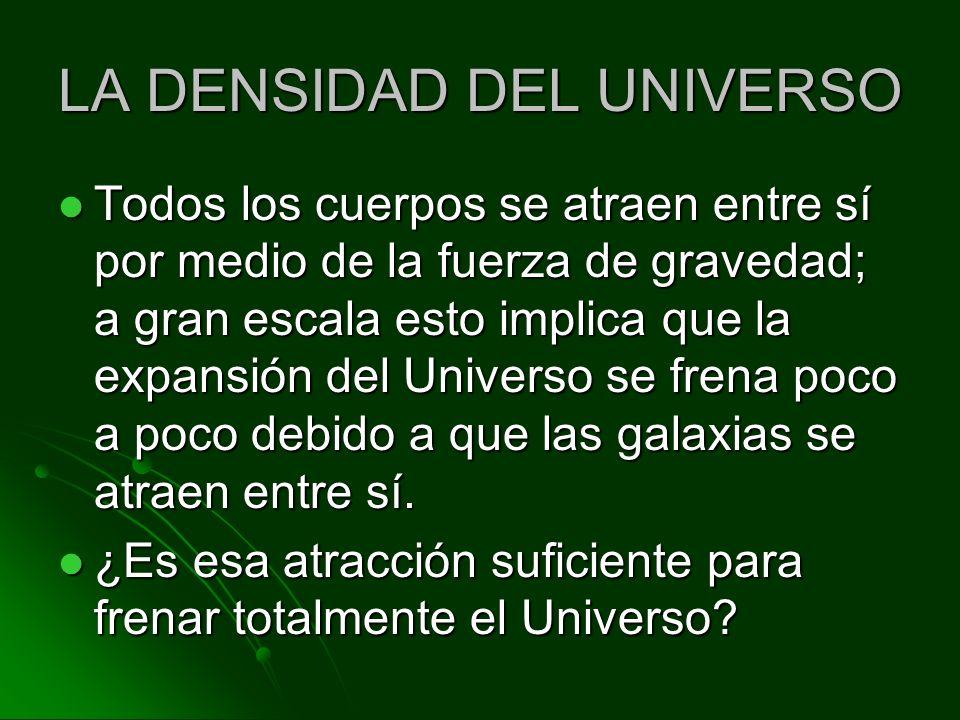 LA DENSIDAD DEL UNIVERSO Todos los cuerpos se atraen entre sí por medio de la fuerza de gravedad; a gran escala esto implica que la expansión del Univ