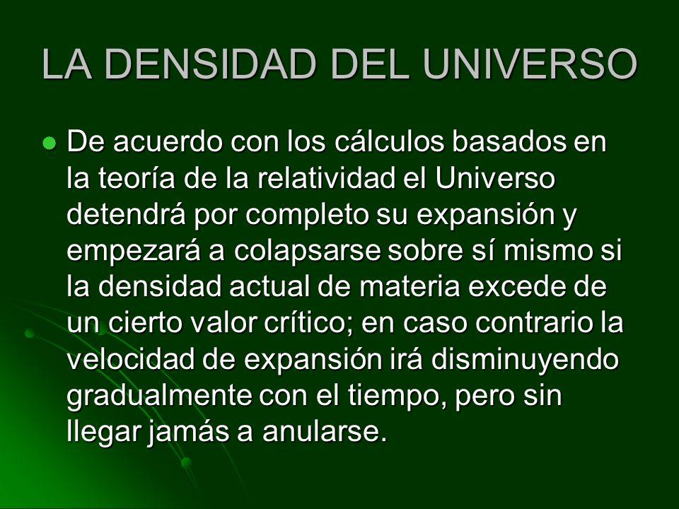 LA DENSIDAD DEL UNIVERSO De acuerdo con los cálculos basados en la teoría de la relatividad el Universo detendrá por completo su expansión y empezará