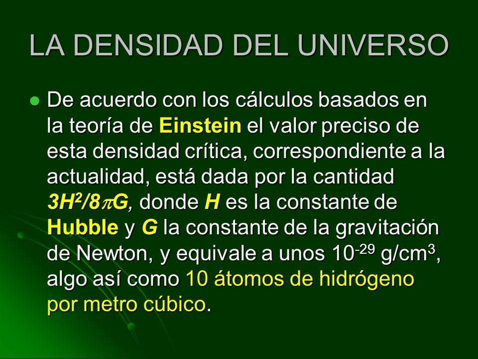 LA DENSIDAD DEL UNIVERSO De acuerdo con los cálculos basados en la teoría de Einstein el valor preciso de esta densidad crítica, correspondiente a la