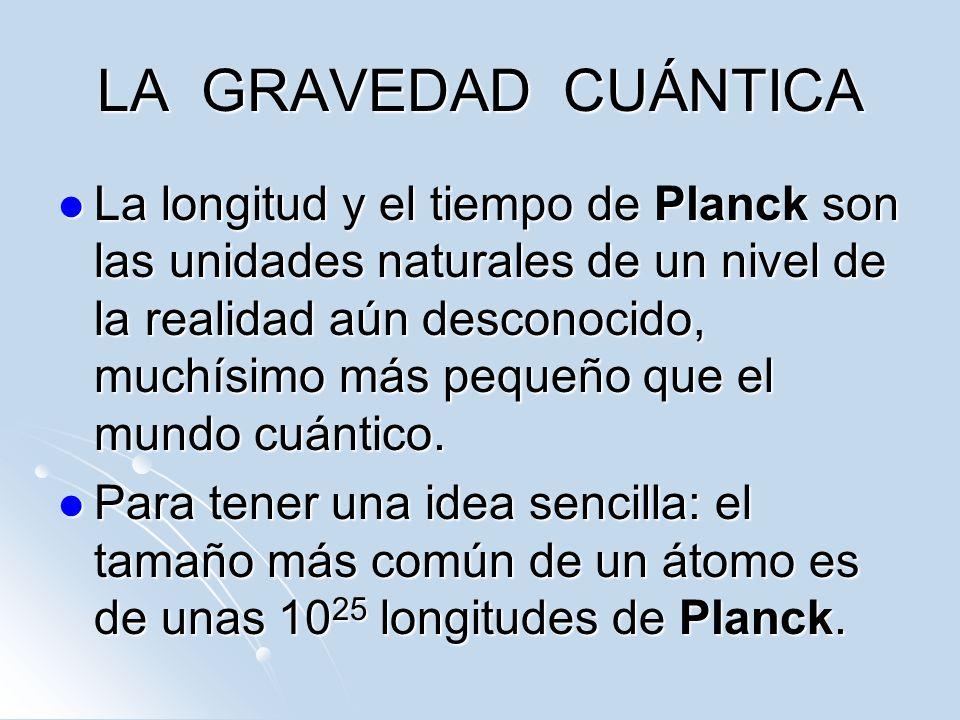 LA GRAVEDAD CUÁNTICA La longitud y el tiempo de Planck son las unidades naturales de un nivel de la realidad aún desconocido, muchísimo más pequeño qu