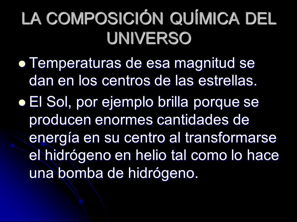 LA COMPOSICIÓN QUÍMICA DEL UNIVERSO Temperaturas de esa magnitud se dan en los centros de las estrellas. Temperaturas de esa magnitud se dan en los ce