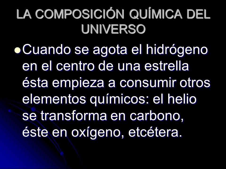 LA COMPOSICIÓN QUÍMICA DEL UNIVERSO Cuando se agota el hidrógeno en el centro de una estrella ésta empieza a consumir otros elementos químicos: el hel