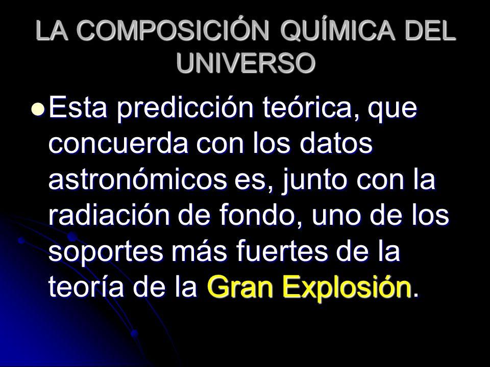 LA COMPOSICIÓN QUÍMICA DEL UNIVERSO Esta predicción teórica, que concuerda con los datos astronómicos es, junto con la radiación de fondo, uno de los