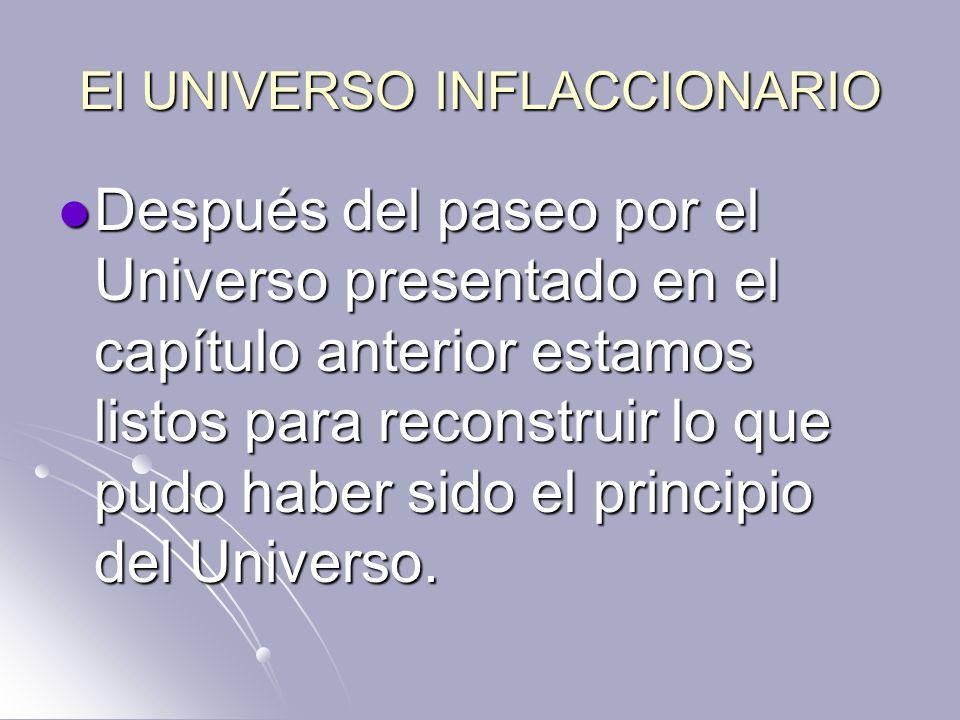 El UNIVERSO INFLACCIONARIO Después del paseo por el Universo presentado en el capítulo anterior estamos listos para reconstruir lo que pudo haber sido
