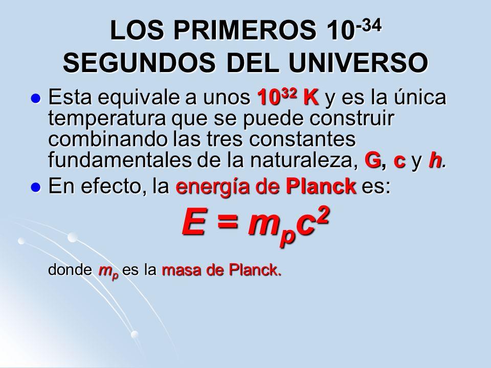 LOS PRIMEROS 10 -34 SEGUNDOS DEL UNIVERSO Esta equivale a unos 10 32 K y es la única temperatura que se puede construir combinando las tres constantes
