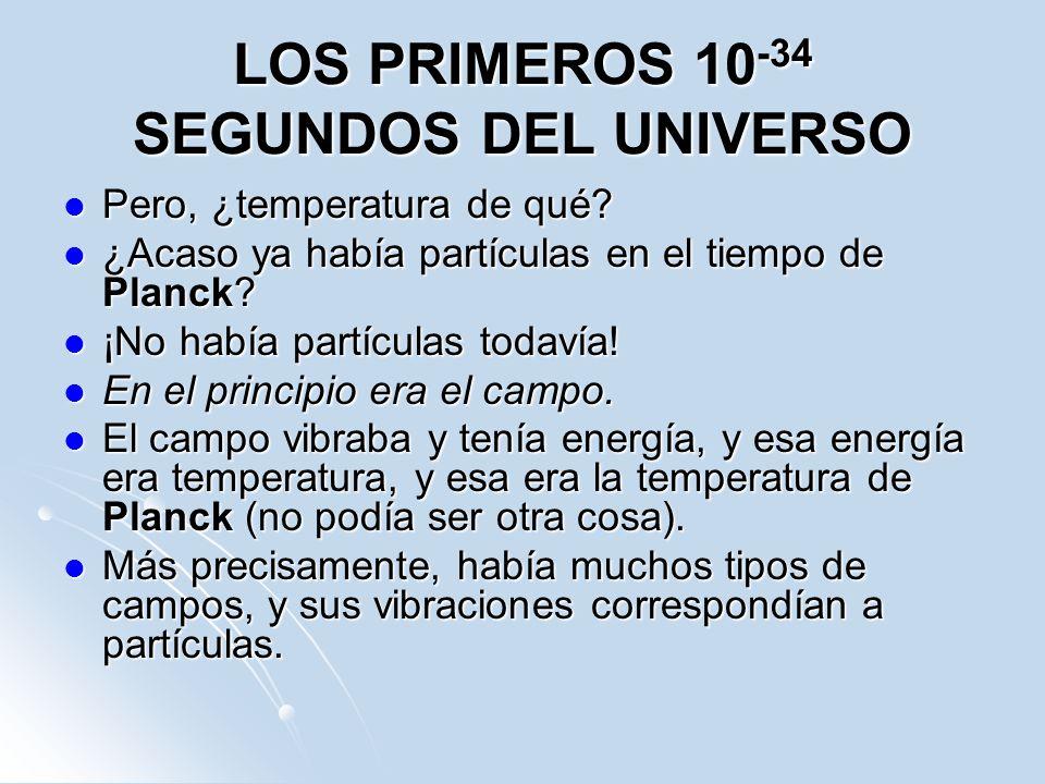 LOS PRIMEROS 10 -34 SEGUNDOS DEL UNIVERSO Pero, ¿temperatura de qué? Pero, ¿temperatura de qué? ¿Acaso ya había partículas en el tiempo de Planck? ¿Ac