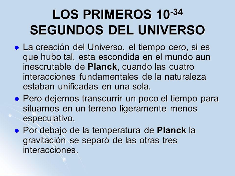 LOS PRIMEROS 10 -34 SEGUNDOS DEL UNIVERSO La creación del Universo, el tiempo cero, si es que hubo tal, esta escondida en el mundo aun inescrutable de