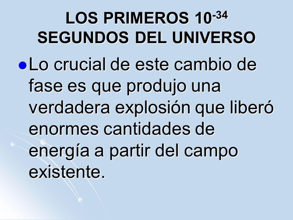 LOS PRIMEROS 10 -34 SEGUNDOS DEL UNIVERSO Lo crucial de este cambio de fase es que produjo una verdadera explosión que liberó enormes cantidades de en