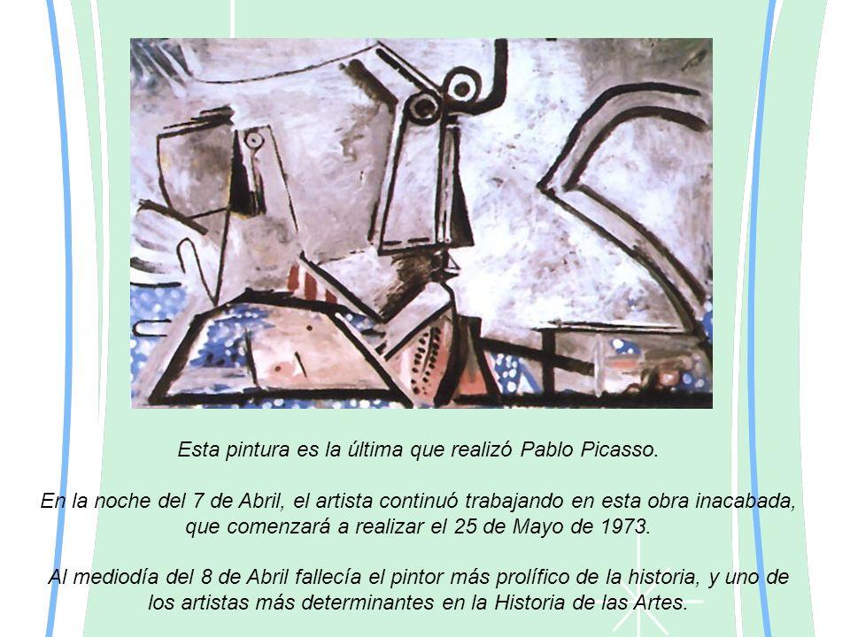 Esta pintura es la última que realizó Pablo Picasso. En la noche del 7 de Abril, el artista continuó trabajando en esta obra inacabada, que comenzará
