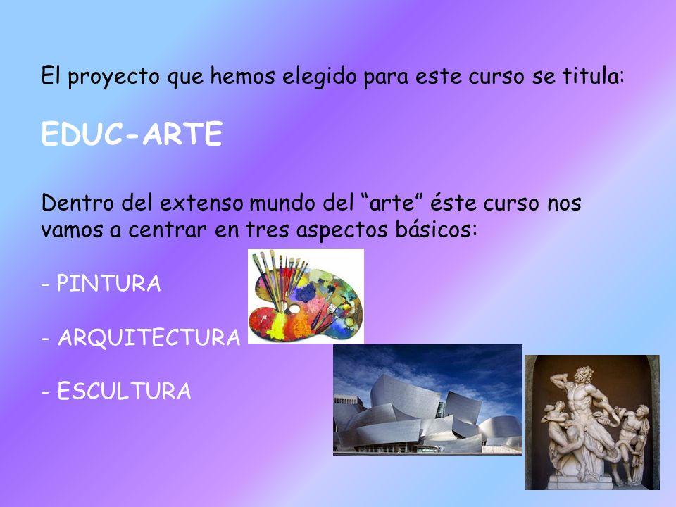 El proyecto que hemos elegido para este curso se titula: EDUC-ARTE Dentro del extenso mundo del arte éste curso nos vamos a centrar en tres aspectos b