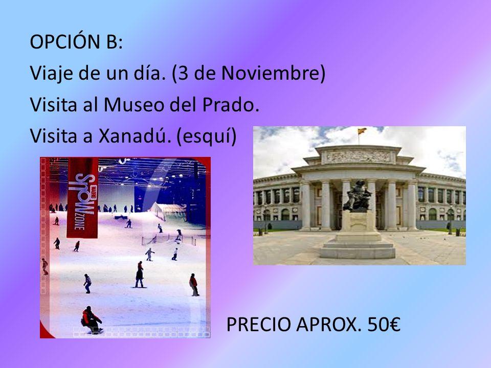 OPCIÓN B: Viaje de un día. (3 de Noviembre) Visita al Museo del Prado. Visita a Xanadú. (esquí) PRECIO APROX. 50