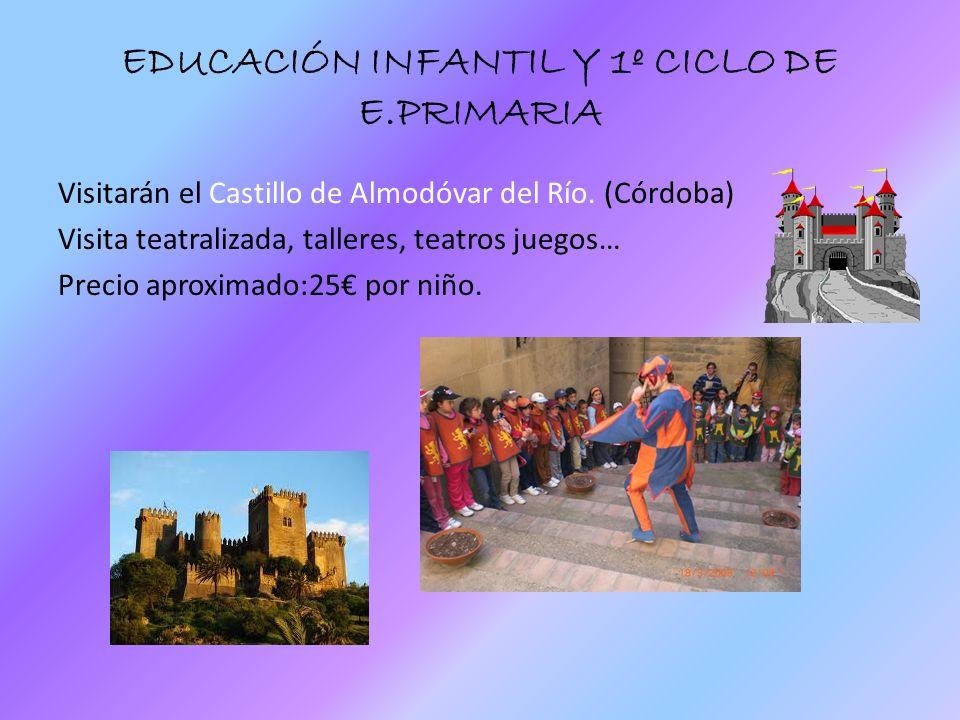 EDUCACIÓN INFANTIL Y 1º CICLO DE E.PRIMARIA Visitarán el Castillo de Almodóvar del Río. (Córdoba) Visita teatralizada, talleres, teatros juegos… Preci