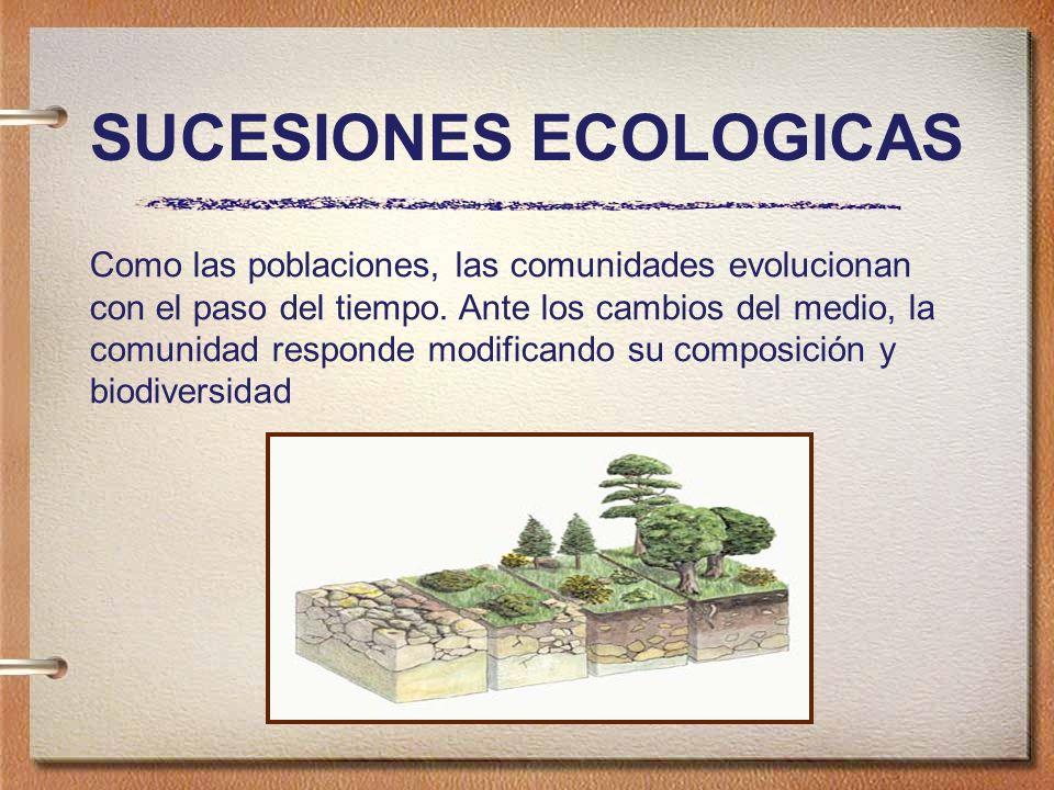 SUCESIONES ECOLOGICAS Como las poblaciones, las comunidades evolucionan con el paso del tiempo.
