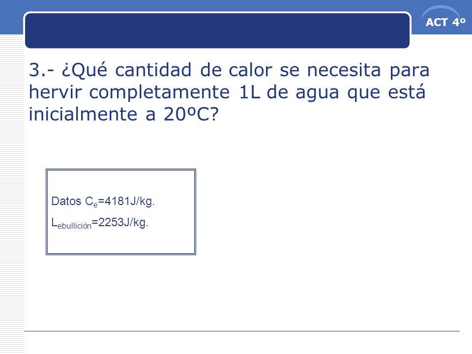ACT 4º 3.- ¿Qué cantidad de calor se necesita para hervir completamente 1L de agua que está inicialmente a 20ºC? Datos C e =4181J/kg. L ebullición =22