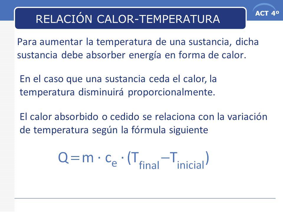 ACT 4º RELACIÓN CALOR-TEMPERATURA Ejemplo: ¿Qué cantidad de calor es necesario para calentar 1 litro de agua que está a 20 o y dejarlo a 40 o .