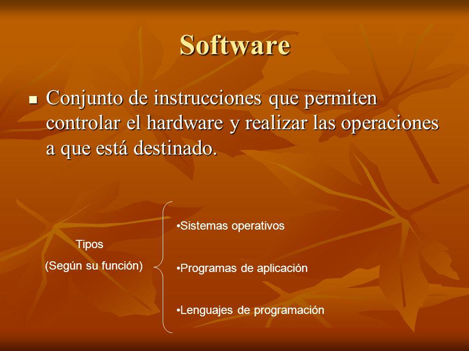 Software Conjunto de instrucciones que permiten controlar el hardware y realizar las operaciones a que está destinado.