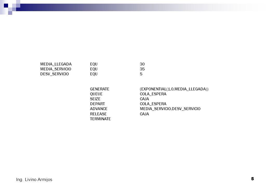 5 Ing. Livino Armijos MEDIA_LLEGADAEQU30 MEDIA_SERVICIOEQU35 DESV_SERVICIOEQU5 GENERATE(EXPONENTIAL(1,0,MEDIA_LLEGADA)) QUEUECOLA_ESPERA SEIZECAJA DEP