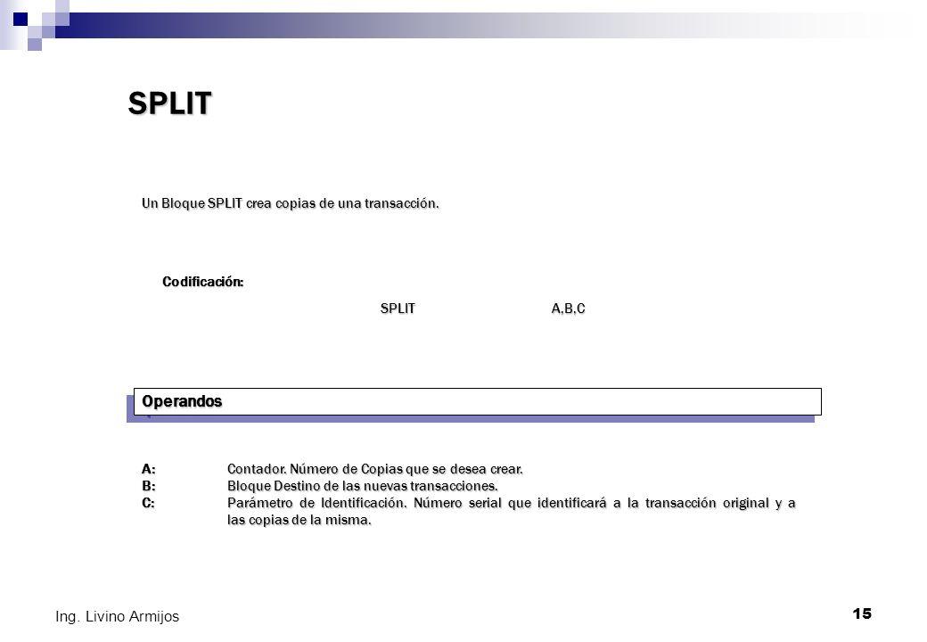 15 Ing. Livino Armijos SPLIT Un Bloque SPLIT crea copias de una transacción. Codificación: SPLIT A,B,C OperandosOperandos A: Contador. Número de Copia