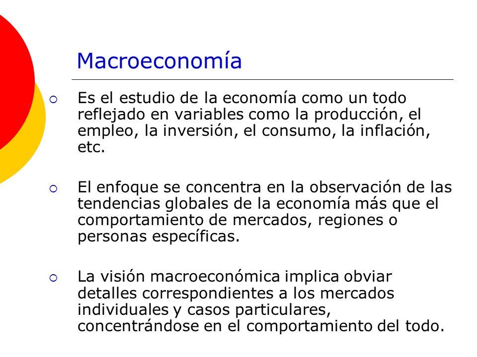 Macroeconomía Es el estudio de la economía como un todo reflejado en variables como la producción, el empleo, la inversión, el consumo, la inflación,