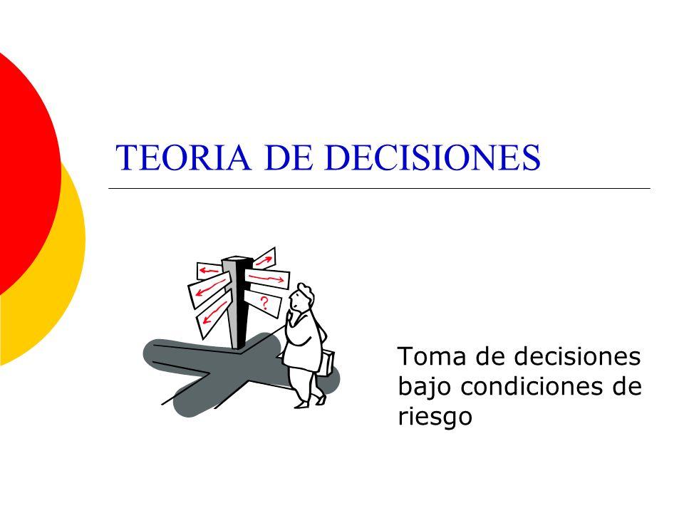 TEORIA DE DECISIONES Toma de decisiones bajo condiciones de riesgo