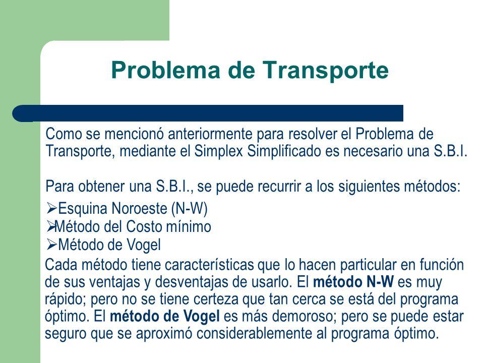 Problema de Transporte Como se mencionó anteriormente para resolver el Problema de Transporte, mediante el Simplex Simplificado es necesario una S.B.I