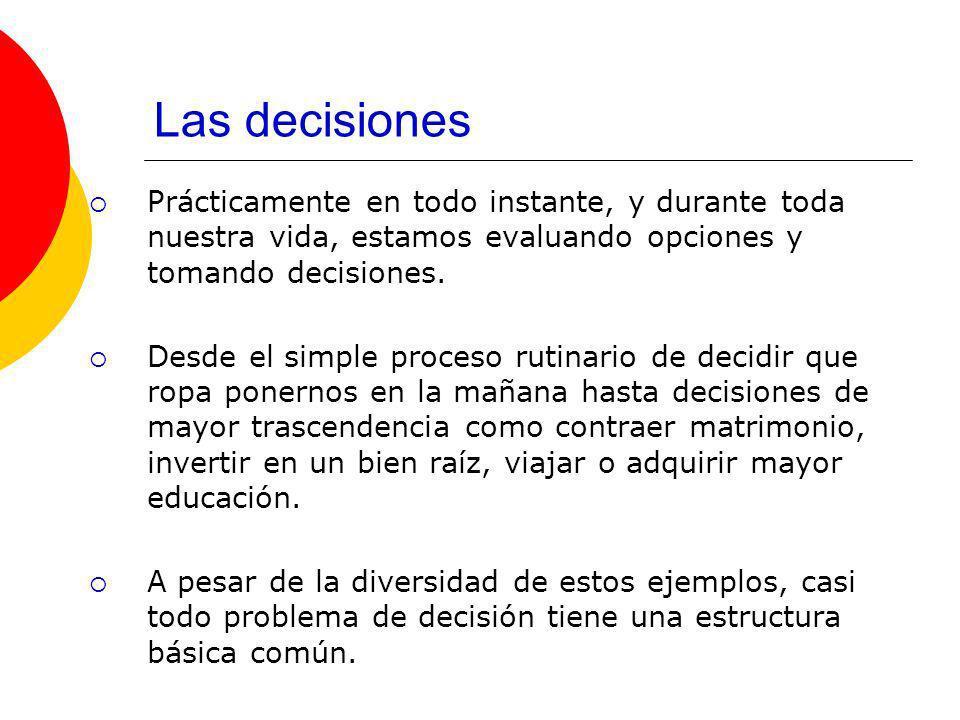 Las decisiones Deben existir opciones o cursos de acción entre los cuales escoger.