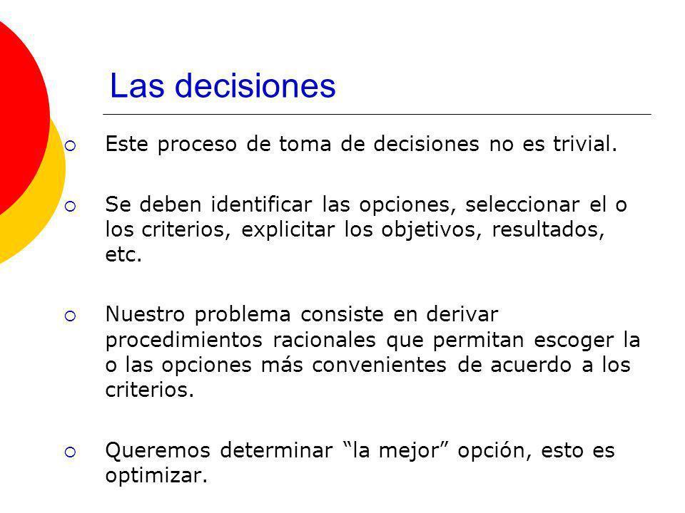 Pasos en la Teoría de Decisiones 1.Defina claramente el problema.
