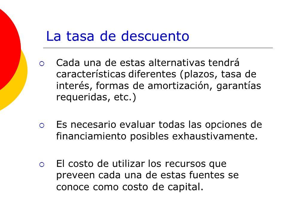 La tasa de descuento Cada una de estas alternativas tendrá características diferentes (plazos, tasa de interés, formas de amortización, garantías requ