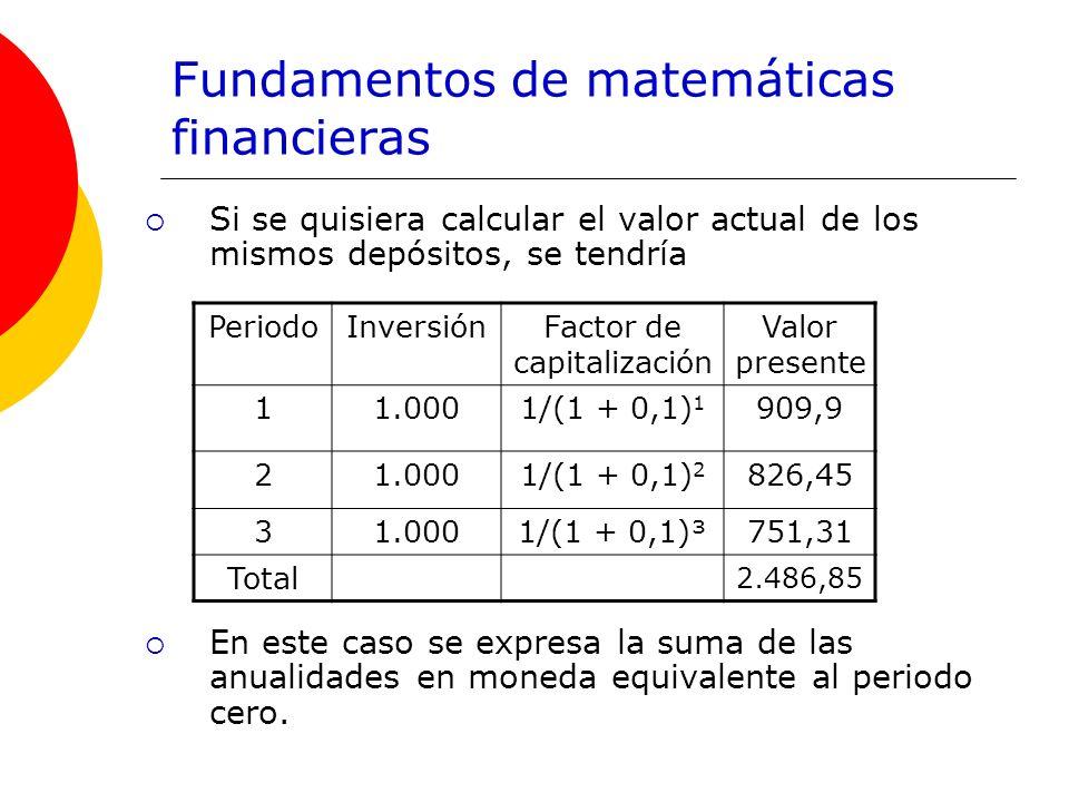 Fundamentos de matemáticas financieras Si se quisiera calcular el valor actual de los mismos depósitos, se tendría En este caso se expresa la suma de