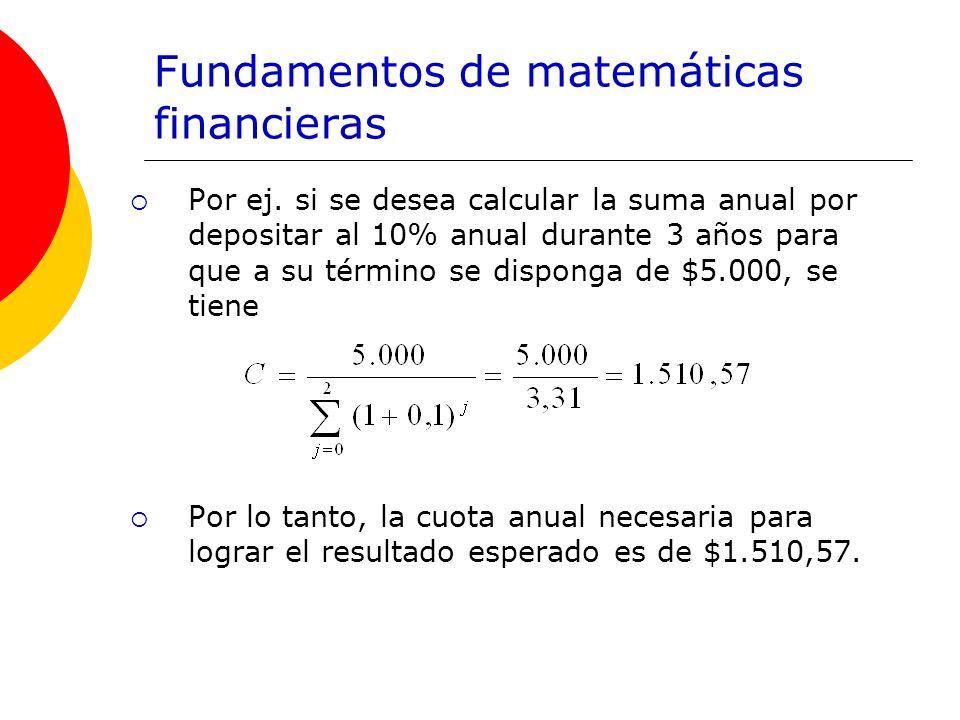 Fundamentos de matemáticas financieras Por ej. si se desea calcular la suma anual por depositar al 10% anual durante 3 años para que a su término se d