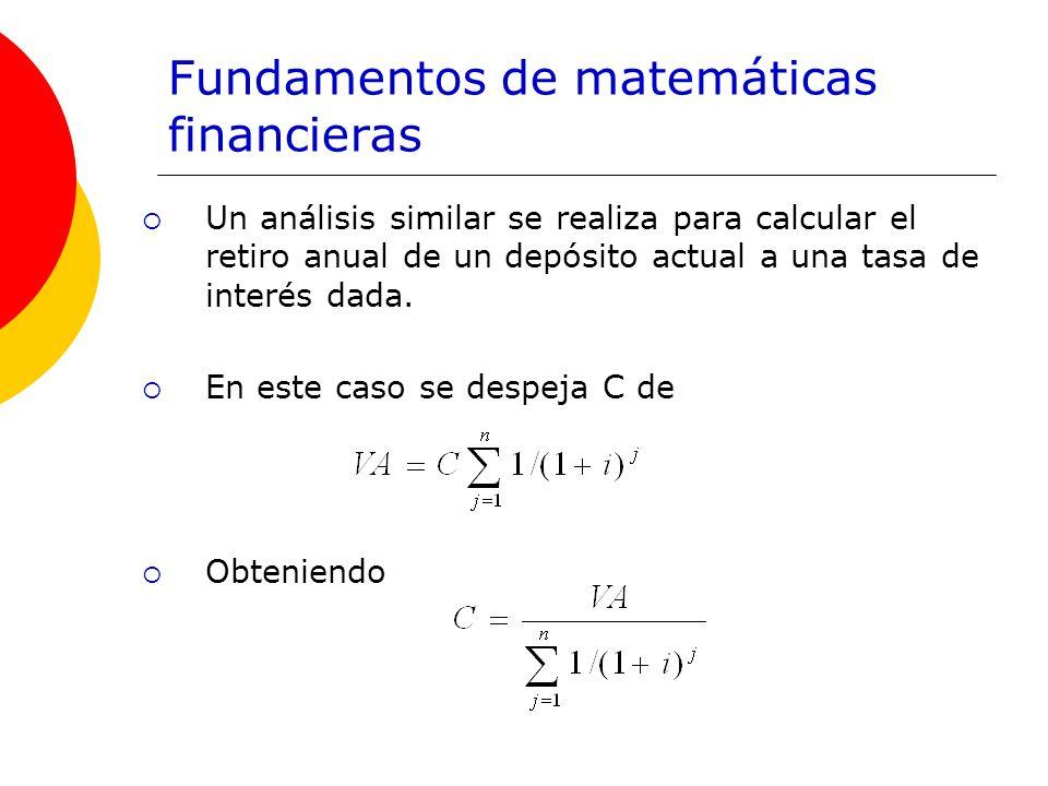 Fundamentos de matemáticas financieras Un análisis similar se realiza para calcular el retiro anual de un depósito actual a una tasa de interés dada.