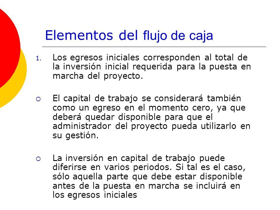 Elementos del flujo de caja 1. Los egresos iniciales corresponden al total de la inversión inicial requerida para la puesta en marcha del proyecto. El