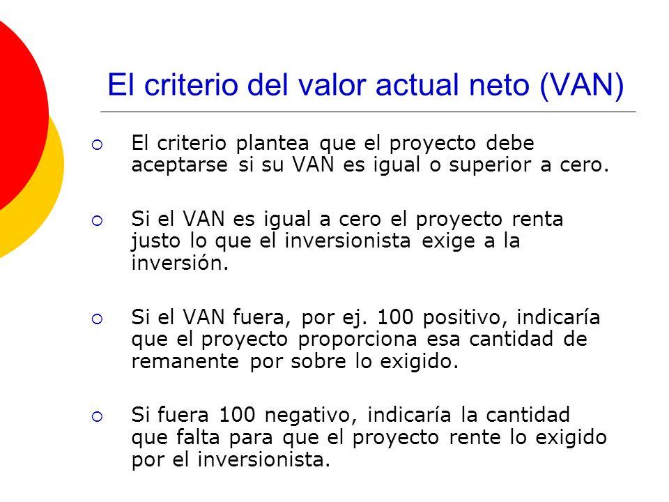 El criterio del valor actual neto (VAN) El criterio plantea que el proyecto debe aceptarse si su VAN es igual o superior a cero. Si el VAN es igual a