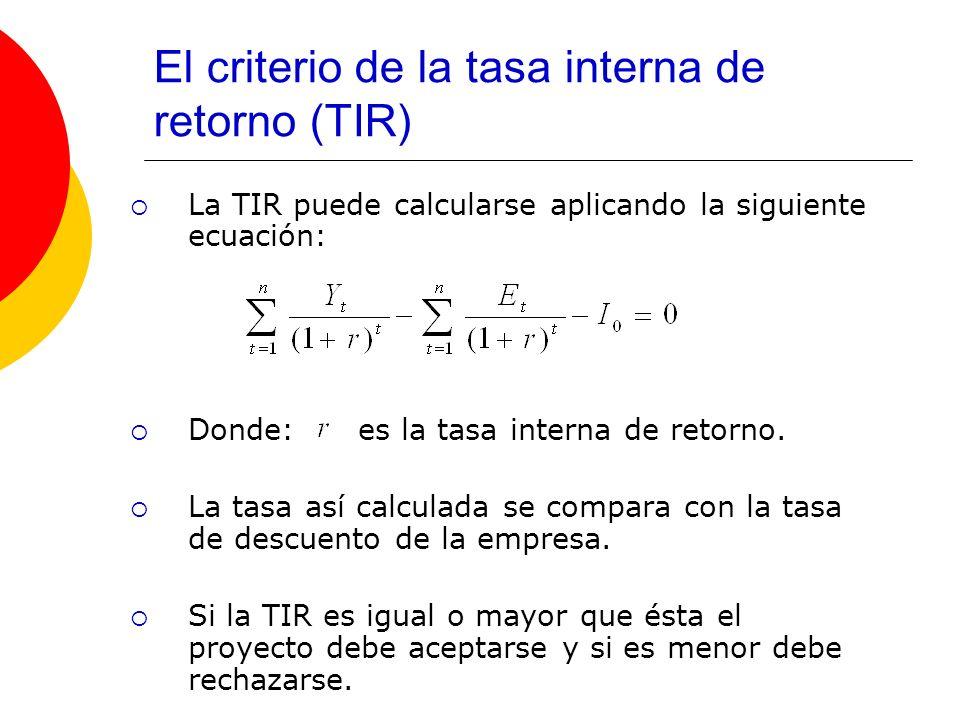 El criterio de la tasa interna de retorno (TIR) La TIR puede calcularse aplicando la siguiente ecuación: Donde: es la tasa interna de retorno. La tasa