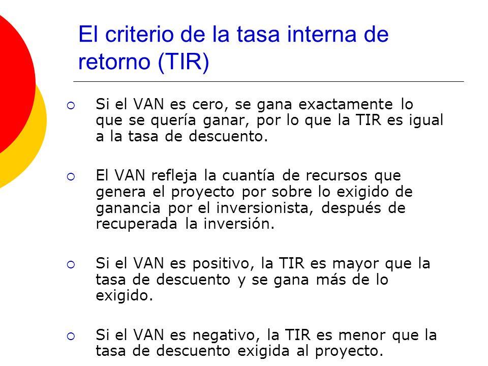 El criterio de la tasa interna de retorno (TIR) Si el VAN es cero, se gana exactamente lo que se quería ganar, por lo que la TIR es igual a la tasa de