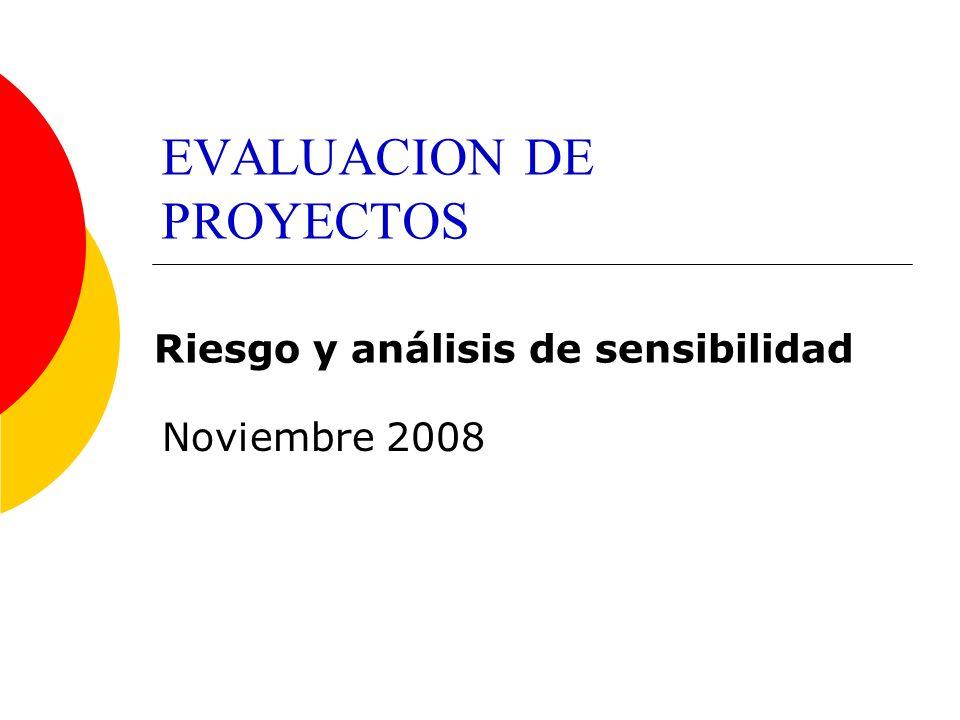 EVALUACION DE PROYECTOS Noviembre 2008 Riesgo y análisis de sensibilidad