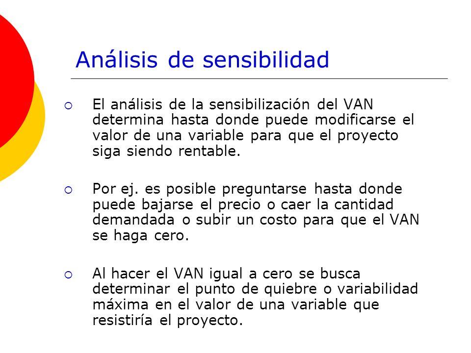 Análisis de sensibilidad El análisis de la sensibilización del VAN determina hasta donde puede modificarse el valor de una variable para que el proyec
