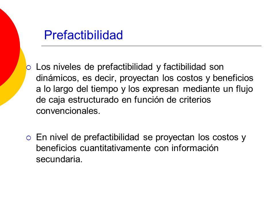Prefactibilidad Los niveles de prefactibilidad y factibilidad son dinámicos, es decir, proyectan los costos y beneficios a lo largo del tiempo y los e