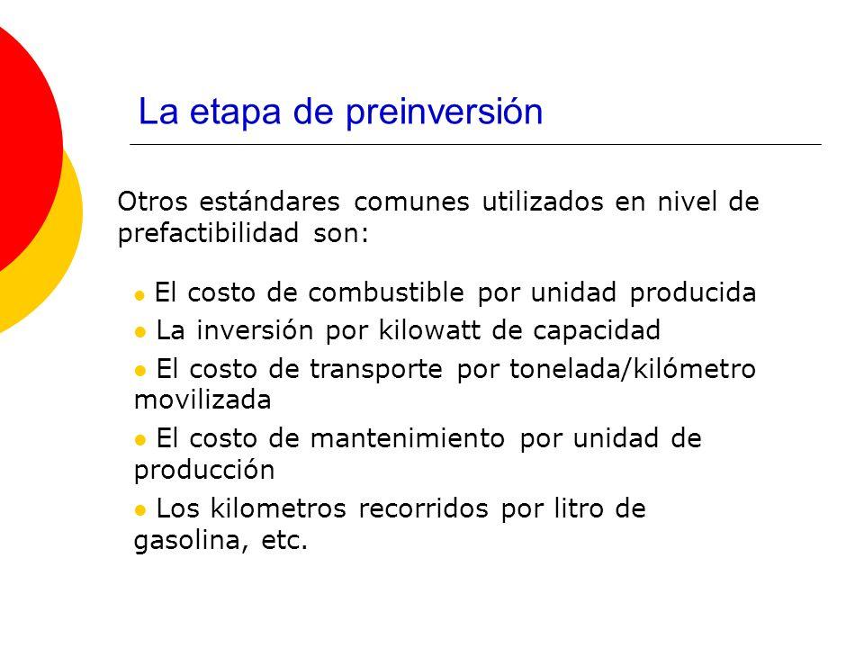 La etapa de preinversión Otros estándares comunes utilizados en nivel de prefactibilidad son: El costo de combustible por unidad producida La inversió