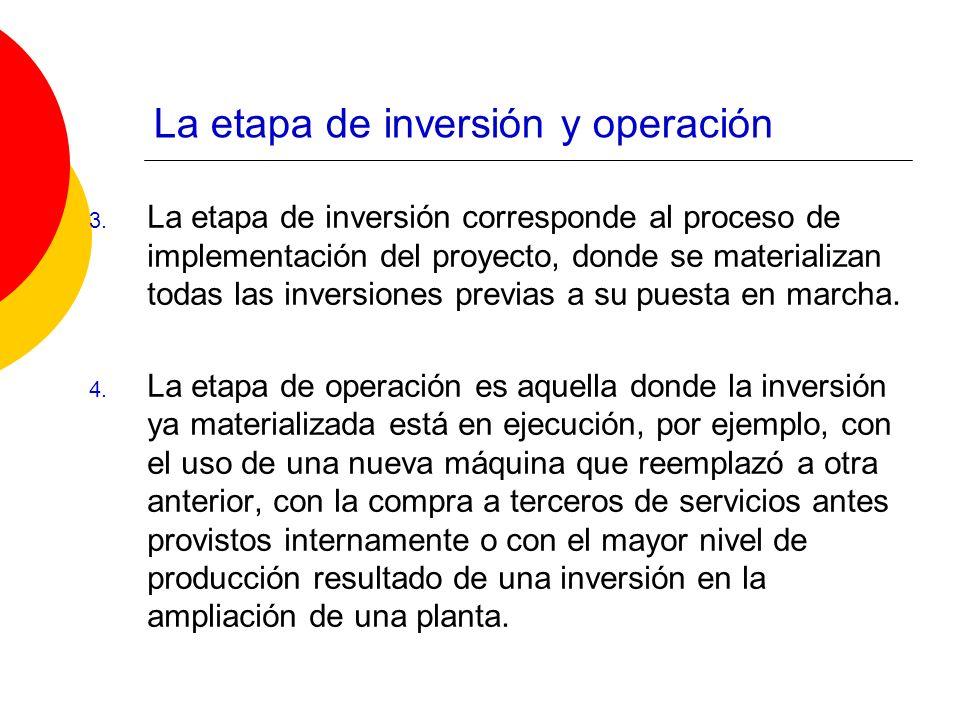 La etapa de inversión y operación 3. La etapa de inversión corresponde al proceso de implementación del proyecto, donde se materializan todas las inve
