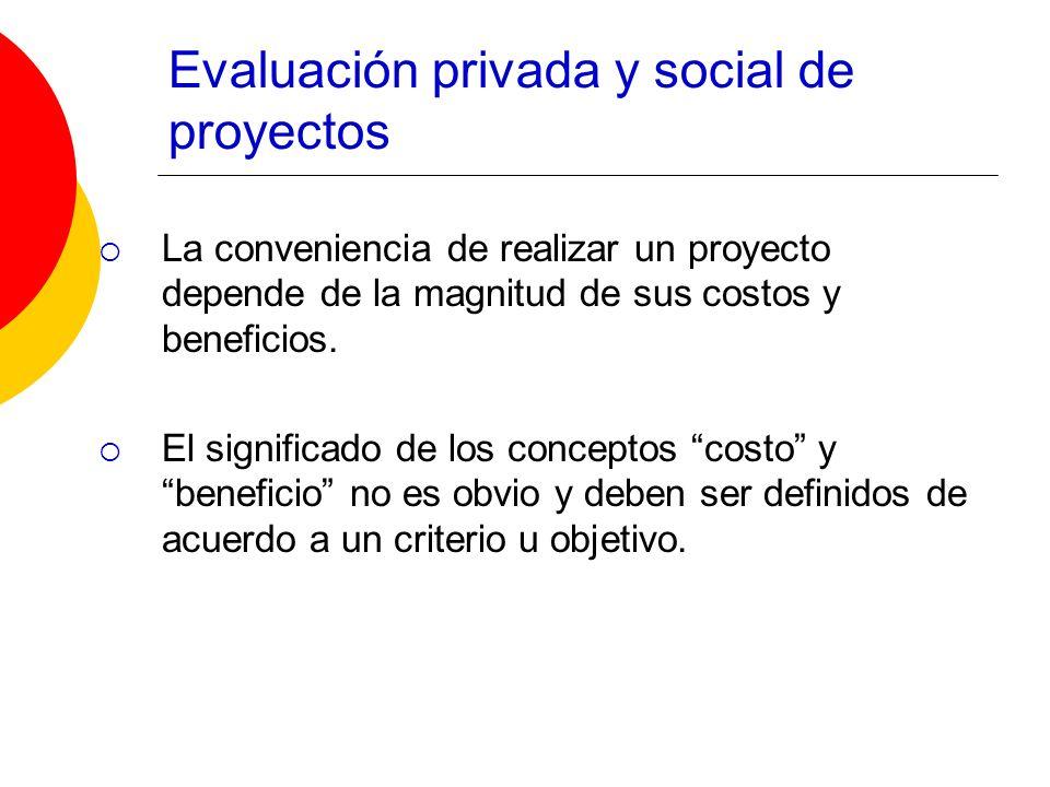 Evaluación privada y social de proyectos La conveniencia de realizar un proyecto depende de la magnitud de sus costos y beneficios. El significado de